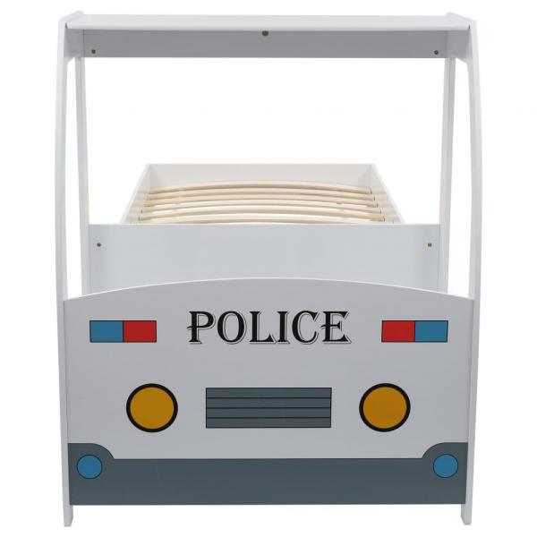 Pat masina de politie pentru copii cu birou 90x200 cm,POLICE 5