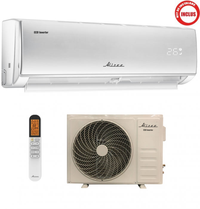 Aparat de aer conditionat, 12000BTU AW12IT1, Inverter, WI-FI Ready, Clasa energetica A++/A+, kit de instalare 4ml inclus,ALIZEE AW12IT1 0