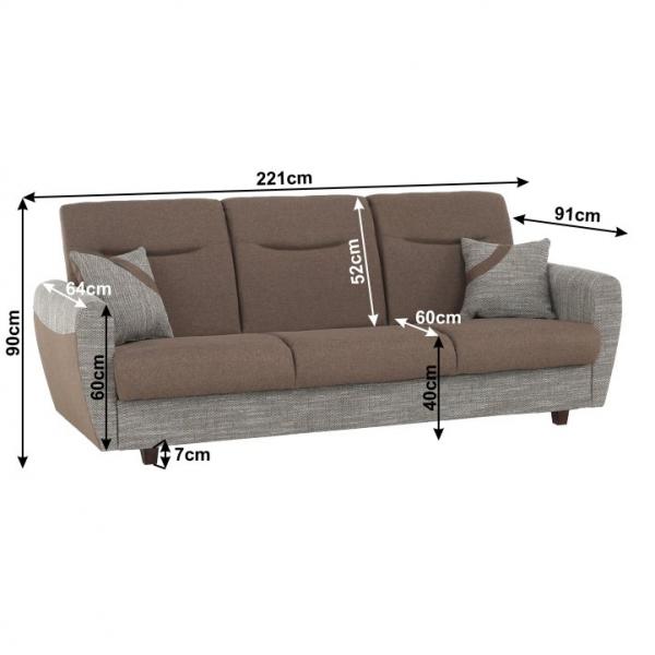 Canapea cu trei locuri, extensibilă, maro, MILO 3 locuri 14
