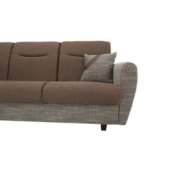 Canapea cu trei locuri, extensibilă, maro, MILO 3 locuri 7