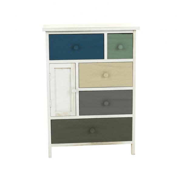 Comodă, albă/sertare colorate, MONET 1 [7]