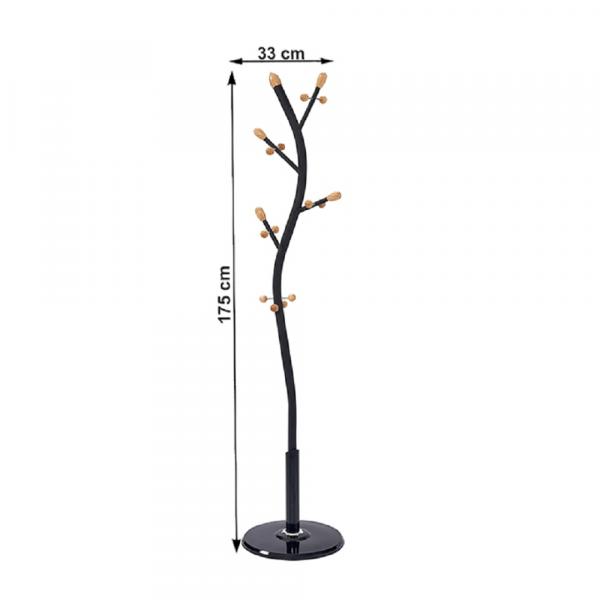 Cuier, negru, 33x33x175 cm,SADIK 1