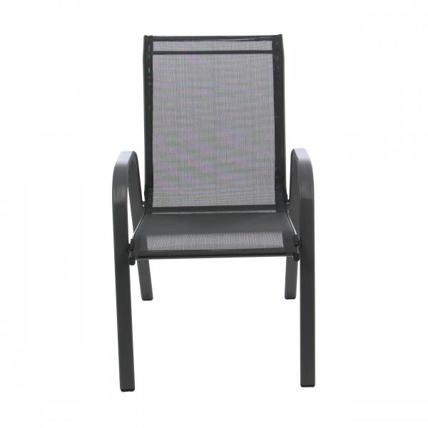 Scaun stivuibil, gri inchis/negru,pentru gradina ,73 x 54 x 92 cm,metal / textilen 0