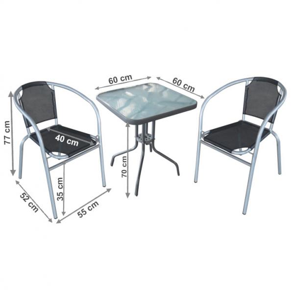 set gradina masa plus doua scaune arginti,gri 1