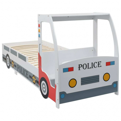 Pat masina de politie pentru copii cu birou 90x200 cm,POLICE0