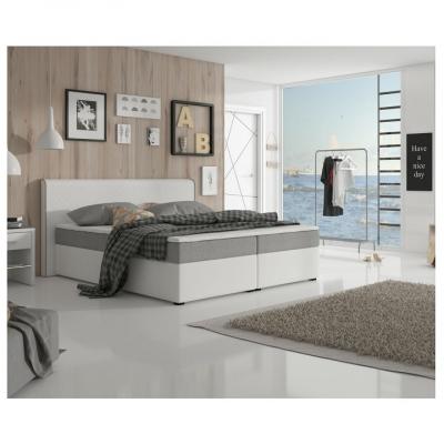 Pat dublu confortabil, piele ecologică albă-gri,160 x 200, NOVARA CONFORT [1]