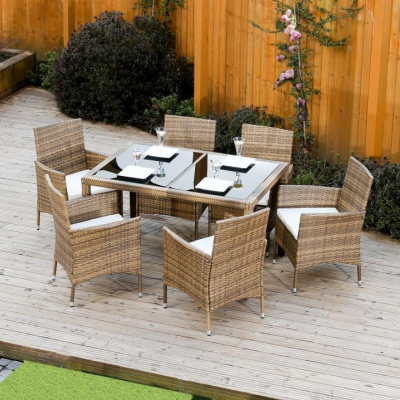 Set de grădină, masă+6x scaune, ratan, miere/crem1