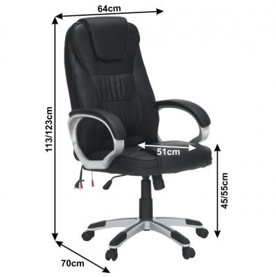 Scaun birou cu funcţie de masaj, negru, TYLER UT-C2652M2