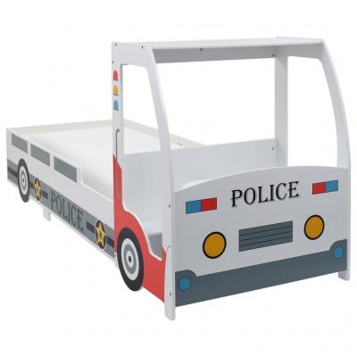 Pat masina de politie pentru copii cu birou 90x200 cm,POLICE1