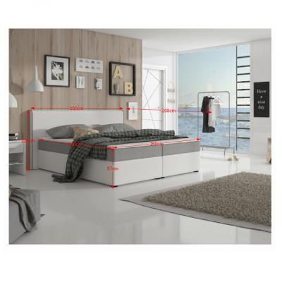 Pat dublu confortabil, piele ecologică albă-gri,160 x 200, NOVARA CONFORT [2]