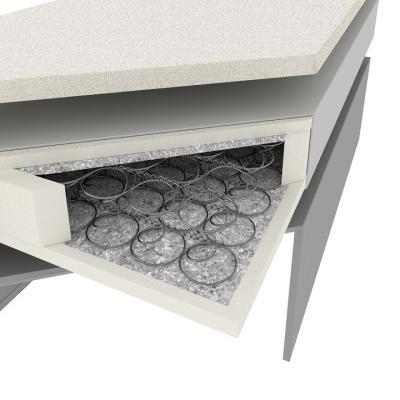 Pat dublu confortabil, piele ecologică albă-gri,160 x 200, NOVARA CONFORT [3]