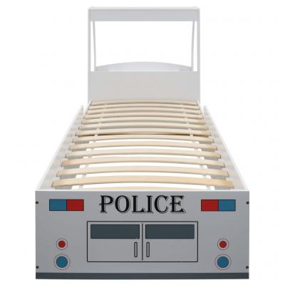 Pat masina de politie pentru copii cu birou 90x200 cm,POLICE4