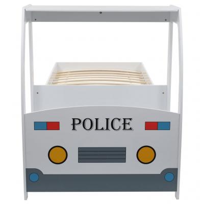 Pat masina de politie pentru copii cu birou 90x200 cm,POLICE5