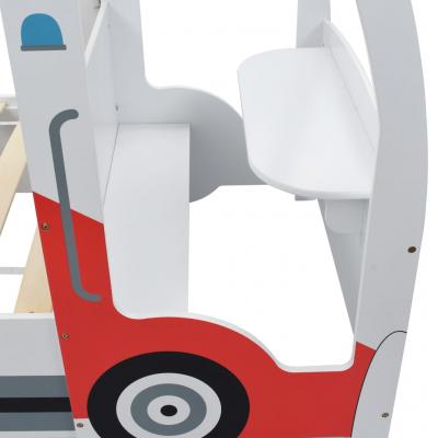 Pat masina de politie pentru copii cu birou 90x200 cm,POLICE7
