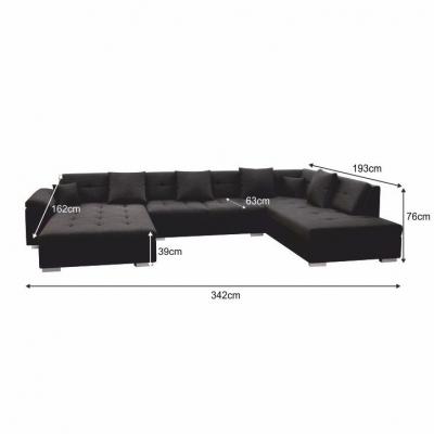 Canapea,coltar in forma de U, piele ecologica neagra/material textil gri inchis, dreapta, ATOSO1