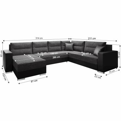 Coltar, canapea universală, reversibila ,extensibil,314x153 / 211x75 / 85 cm,negru cu negru accentuat, ANISIA1