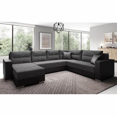 Coltar, canapea universală, reversibila ,extensibil,314x153 / 211x75 / 85 cm,negru cu negru accentuat, ANISIA2