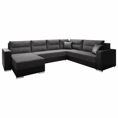 Coltar, canapea universală, reversibila ,extensibil,314x153 / 211x75 / 85 cm,negru cu negru accentuat, ANISIA0
