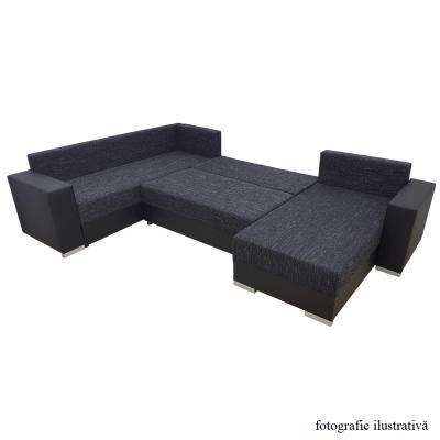 Coltar, canapea universală, reversibila ,extensibil,314x153 / 211x75 / 85 cm,negru cu negru accentuat, ANISIA3