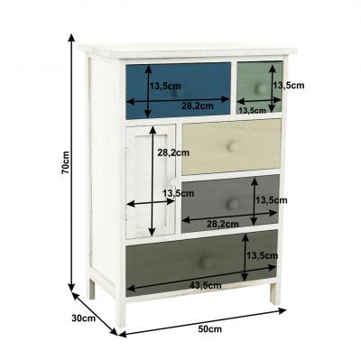 Comodă, albă/sertare colorate, MONET 1 [12]