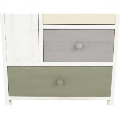 Comodă, albă/sertare colorate, MONET 1 [1]