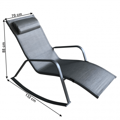 Fotoliu balansoar de gradina, gri,70x88x132 cm , ELVIO1