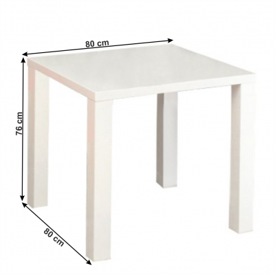 Masa dining, alb extra lucios HG,80x76x80 cm, ASPER NEW TYP 52