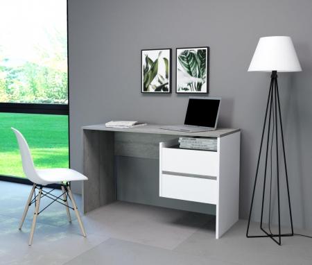 Masa PC, beton/alb mat,125x75.5x51.6 cm, mobHAUS,PACO3