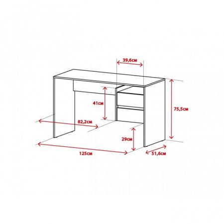 Masa PC, beton/alb mat,125x75.5x51.6 cm, mobHAUS,PACO1