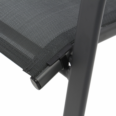 Scaun stivuibil, gri inchis/negru,pentru gradina ,73 x 54 x 92 cm,metal / textilen2