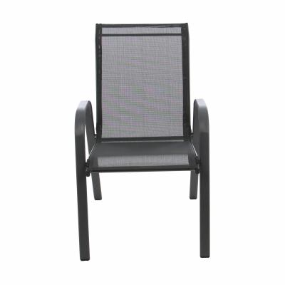 Scaun stivuibil, gri inchis/negru,pentru gradina ,73 x 54 x 92 cm,metal / textilen0