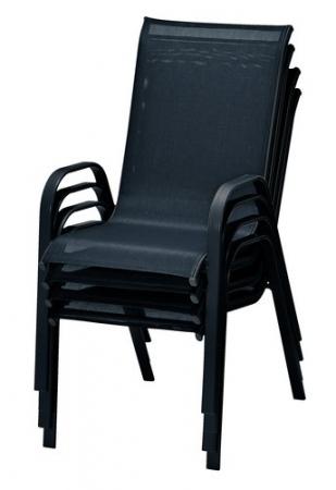 Scaun stivuibil, negru ,pentru gradina ,72 x 54 x 92 cm,metal / textilen - Copie1