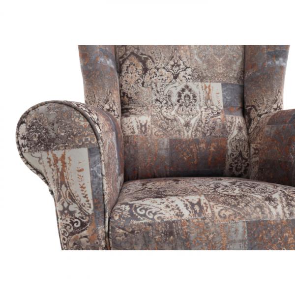 Fotoliu cu taburet, material textil vintage 1026 maro, ASTRID 5