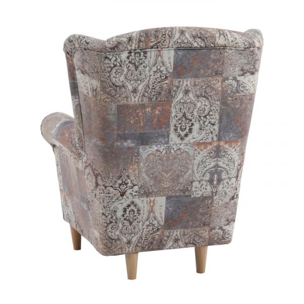 Fotoliu cu taburet, material textil vintage 1026 maro, ASTRID 2