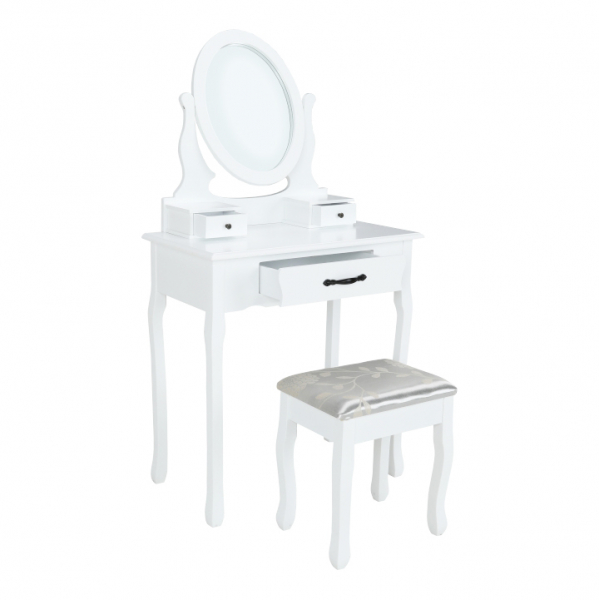 masa-toaleta-taburet-oglinda-alb 0