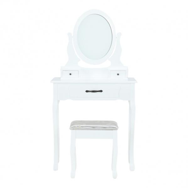 masa-toaleta-taburet-oglinda-alb 1