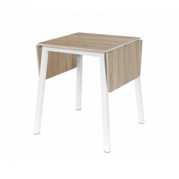 Masă dining, MDF placat/metal, stejar sonoma/alb, MAURO 0