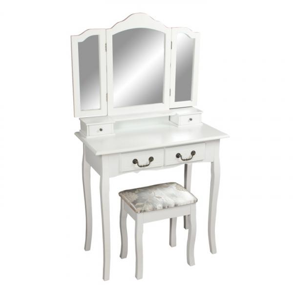 Masa toaleta cu taburet si oglinda, MDF alb cu lemn masiv, model Regina 0