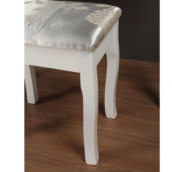 Masa toaleta cu taburet si oglinda, MDF alb cu lemn masiv, model Regina 2