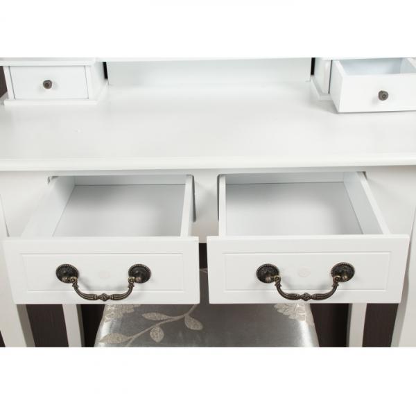 Masa toaleta cu taburet si oglinda, MDF alb cu lemn masiv, model Regina 3