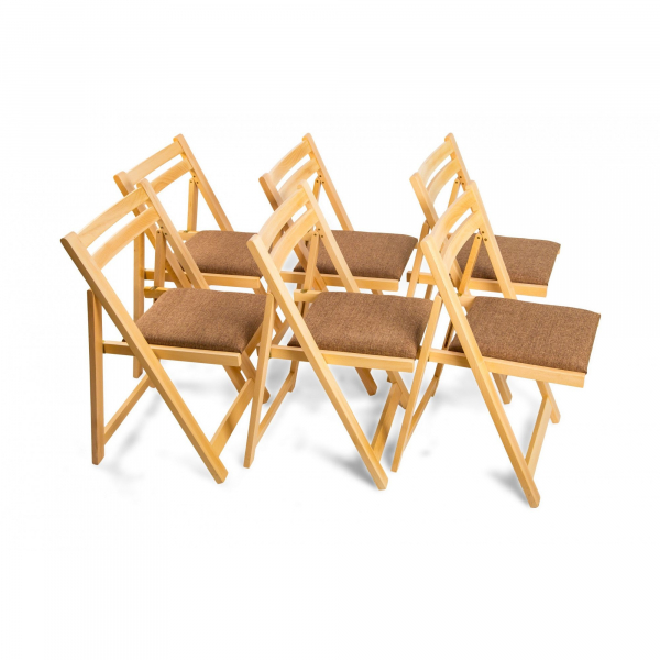Masa plianta cu 6 scaune stejar natur 2