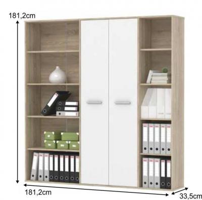 Biblioteca pentru birou Maurus, Stejar sonoma cu alb, 181,2 x 181,2 x 33,5 cm1