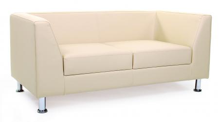 Canapea fixa 2 locuri Derby, piele ecologica crem0