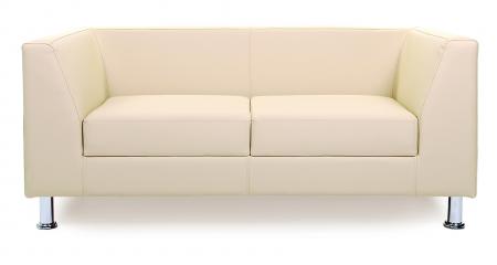 Canapea fixa 2 locuri Derby, piele ecologica crem1