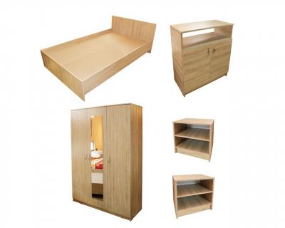 Dormitor Soft Sonoma cu dulap 3 usi si pat de 160 x 200 cm1