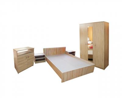 Dormitor Soft Sonoma cu dulap 3 usi si pat de 160 x 200 cm0