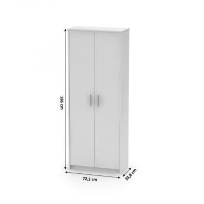 Dulap birou cu polite JOHAN NEW 05, 72,5x33,8x186 cm, culoare alba1