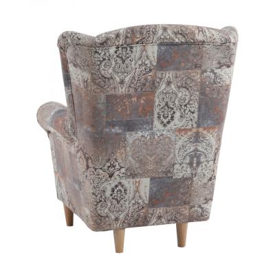 Fotoliu cu taburet, material textil vintage 1026 maro, ASTRID2