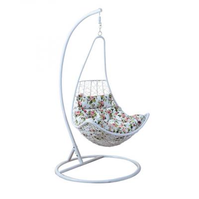 Fotoliu relaxare suspendabil, alb/model flori, KALEA0