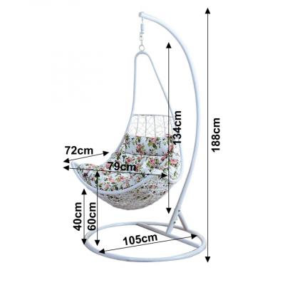 Fotoliu relaxare suspendabil, alb/model flori, KALEA1